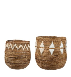 Thelma basket round brown set of 2 - h46xd45cm