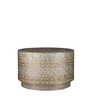 Mosaic side table gold - h28xd46cm
