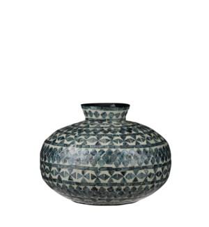 Mosaic pot round blue - h27xd38cm