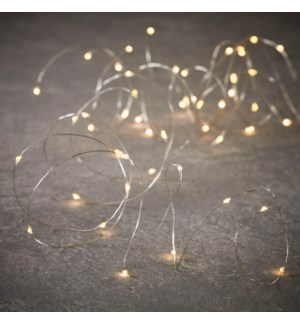 String silver warm white 30led bo outdoor timer - 9.75'
