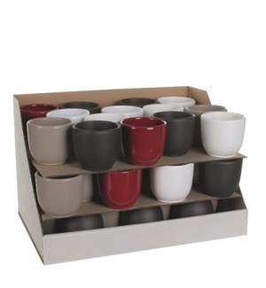 "Tusca Pot 3.25x2.75"" White, D.Red, Taupe, Anth,"