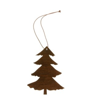 "Tree Ornament with Hanger 4"" Dark Brown"