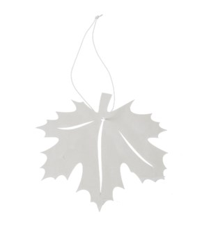 "Leaf Ornament with Hanger 6"" White"