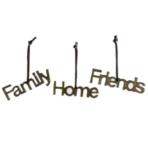 "Ornament Home Family Friends  5"" 3 Assorted"