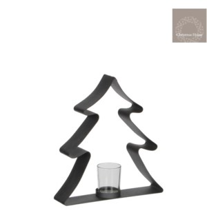 "Wonder Tree Tealight Holder 9x2.25x9.5"" Grey"