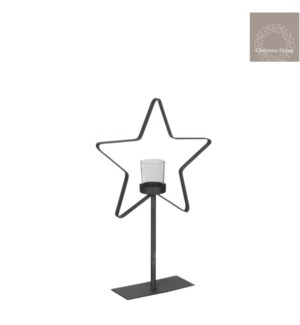 "Wonder Star Tealight Holder on Stand 9.75x3.25x15.75"" Grey"