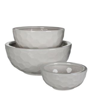 Diamond bowl round white set of 3 - h17,5xd39,5cm