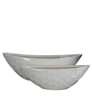 Diamond bowl oval white set of 2 - l50xw20xh17cm