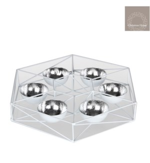 "Geo Tealight Holder 15x15x2.25"" White"
