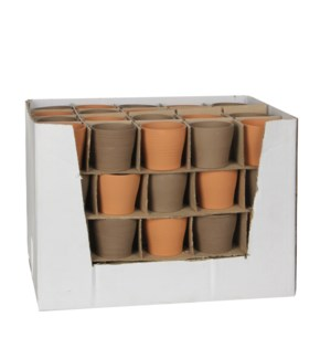 Nessa pot round terra taupe 4 assorted display - h6,5xd7cm