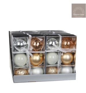 "Jolly Ornament Set PDQ 3.25"" Champagne"