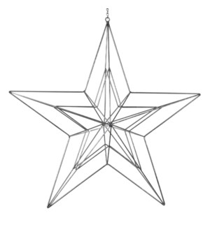 "Geo Star Ornament 22.75x4.5x44"" Silver"
