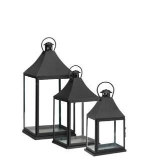 Bilbao lantern black set of 3 - l32xw32xh71cm