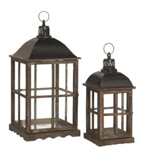 Lantern brown set of 2 - l31xw31xh66cm