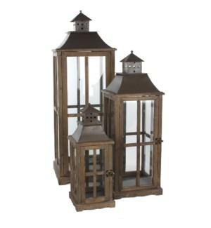 Lantern brown set of 3 - l37xw37xh112cm