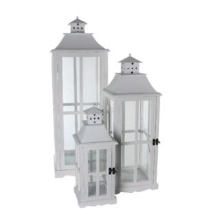 Lantern white set of 3 - l37xw37xh112cm