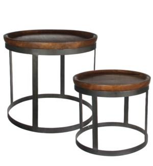 Harvey side table brown set of 2 - h45xd53cm
