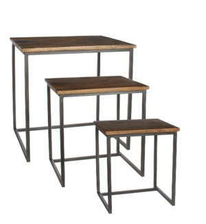 Harvey side table brown set of 3 - l53xw44,5xh51,5cm