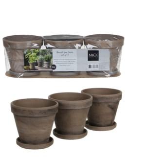 Stan pot w-saucer grey basalt 3 pieces - l40,5xw13,5xh12cm
