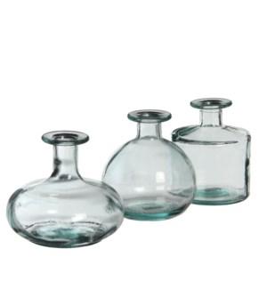 Simone bottle transparent 3 assorted - h12xd14cm