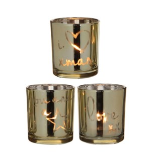 "I Love Xmas Tealight Holder 3 Assorted 2.75x3.25"" Gold"