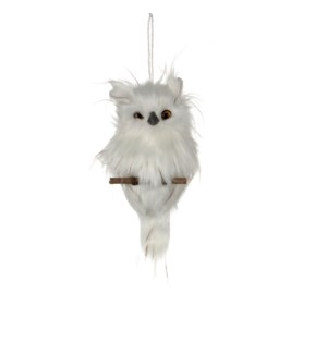 "Owl Ornament 10.25x4.25x2"" White"
