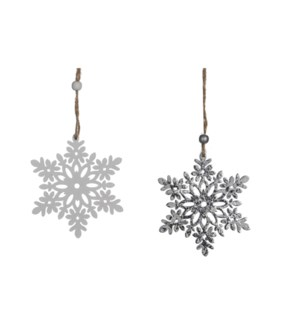 "Snowflake Ornament 2 Assorted 4x3.5x0.25"" White, Silver"