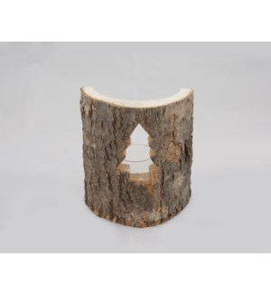 "Tree Candleholder 5x6"" Dark Brown"
