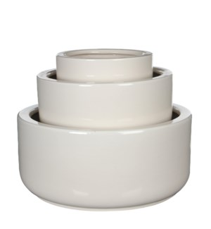 "Lars bowl round white set of 3 - 15.75x15.75x7"""