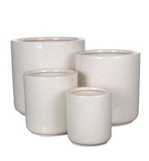 "Lars pot round white set of 4 - 11.5x11.5"""