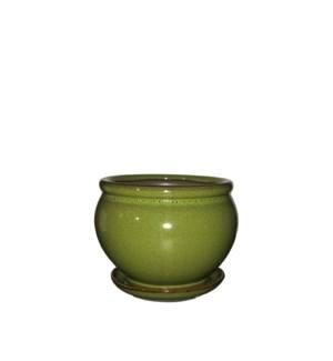 """Vienna Pot/Saucer 6.5x5"""" Green"""