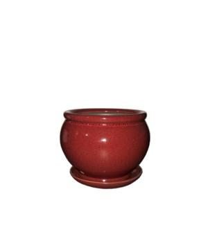 "Vienna Pot/Saucer 6.5x5"" Red"