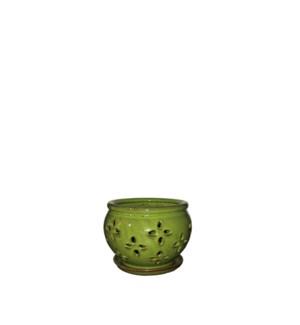 """Vienna Orchid Pot/Saucer 5x4"""" Green"""