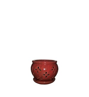 "Vienna Orchid Pot/Saucer 5x4"" Red"