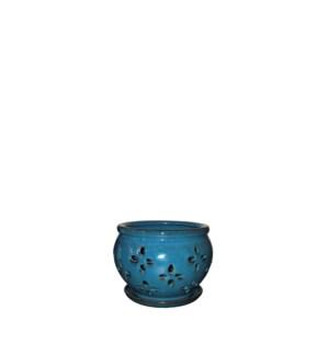 """Vienna Orchid Pot/Saucer 5x4"""" Blue"""