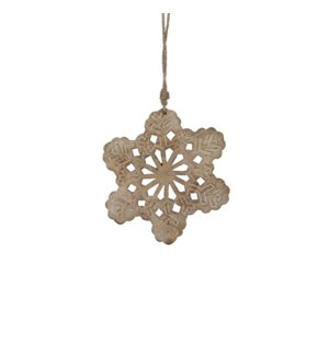 "Snowflake Ornament 0.5x8"" Dark Brown"