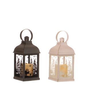 Lantern led white grey 4 assorted battery operated display - 4.25x4.25x8.75""