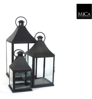 Bilbao lantern black set of 3 - 12.5x12.5x28""