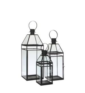 """Sarita lantern black set of 3 - 7x7x19"""""""