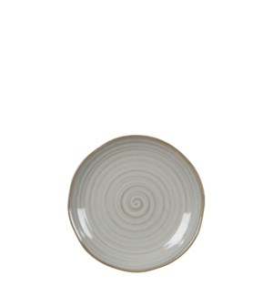 June plate round off white - 7x1.25""