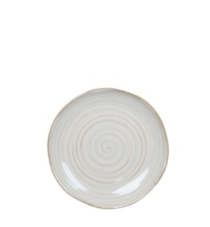 June plate round off white - 8x1""