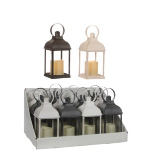 Lantern led white grey 2 assorted battery operated display - 4.25x4.25x8.75""
