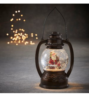 Lantern santa antique brown warm white led battery operated - 5.5x4.25x8""