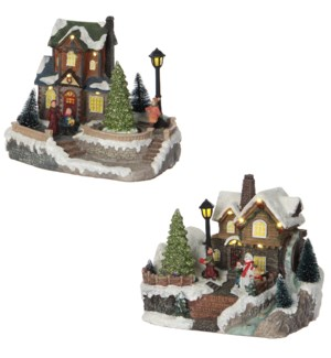 Christmas house 2 assorted battery operated - 8x6x6.5""