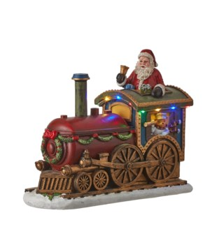 Santa in train red battery operated - 11.5x4.75x9.25""