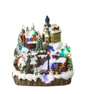 Winter village scenery battery operated - 10.5x10.25x11.5""