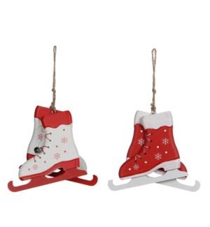 "Ornament skates white red 2 assorted - 4.75x0.5x4"""