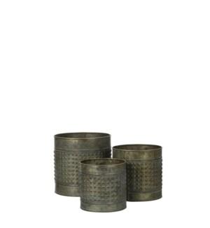 "Pot round antique set of 3 - 7x7"""