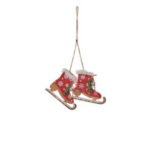 "Ornament skates red - 4x3.25"""