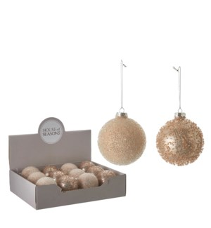 Ornament ball pink 2 assorted display - 3.25""